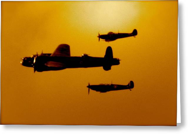 Battle Of Britain Flight At Dusk Greeting Card by John Colley