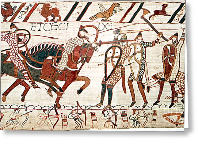 Battle Of Hastings Bayeux Tapestry Greeting Card by Photo Researchers