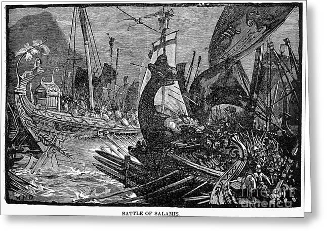 Battle Of Salamis, 480 B.c Greeting Card by Granger