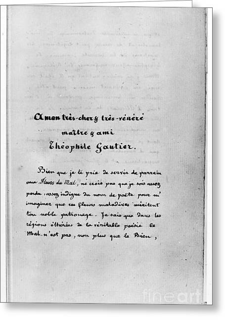 Baudelaire: Dedication Greeting Card by Granger