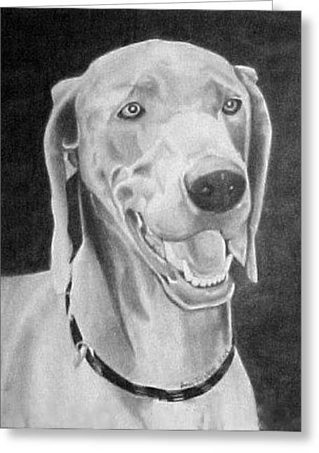 Greeting Card featuring the drawing Baxter by Ana Tirolese