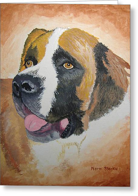 Greeting Card featuring the painting Baxter by Norm Starks