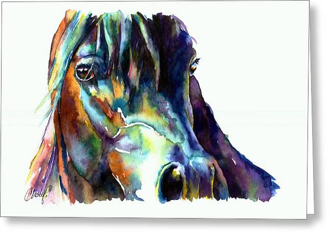 Bay Horse Portrait Greeting Card