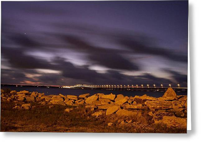Bay St Louis Bridge With Venus Greeting Card by Suzanne E Clark