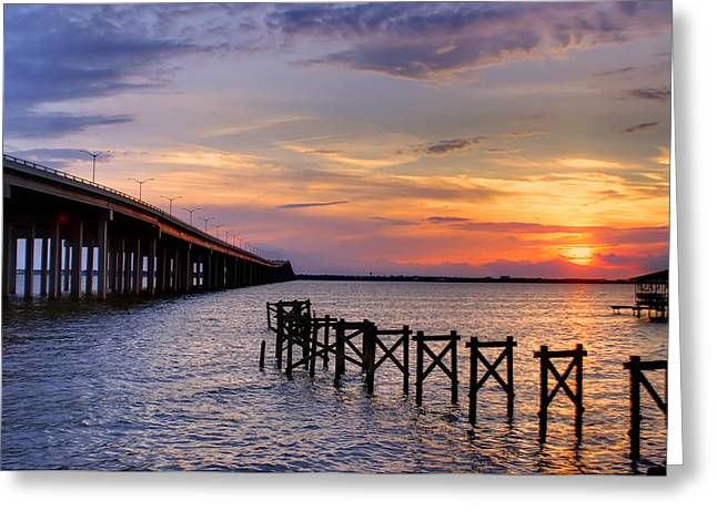 Bay St. Louis Sunset Greeting Card by Brian Wright