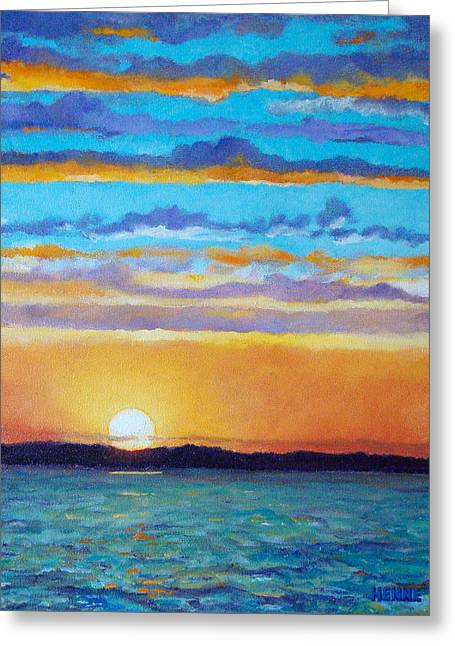 Greeting Card featuring the painting Bay Sunset by Robert Henne