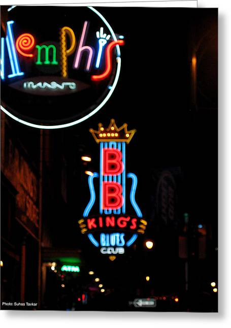 Bb Kings On Beale Street Greeting Card by Suhas Tavkar