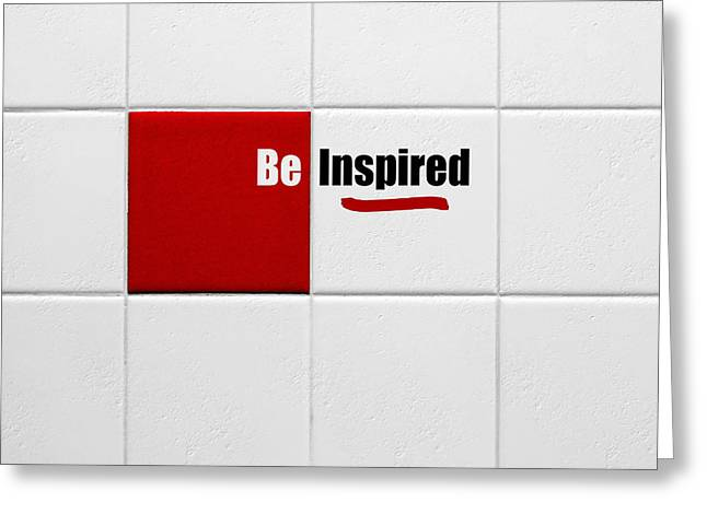 Be Inspired Modern Style Red Tile Greeting Card