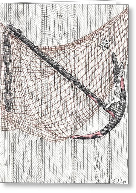 Beach Anchor And Net. Greeting Card by Calvert Koerber