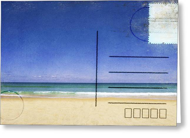Beach And Blue Sky On Postcard  Greeting Card by Setsiri Silapasuwanchai