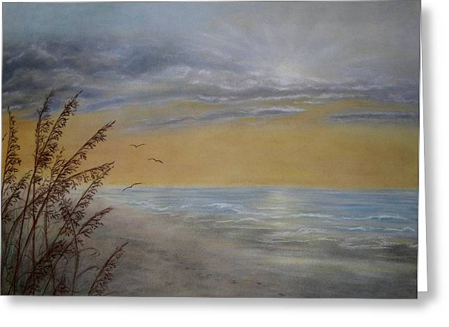 Greeting Card featuring the painting Beach At Dawn by Kathleen McDermott