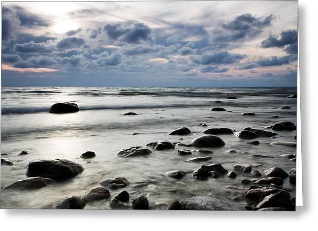 Beach At Dusk Greeting Card by Carol Hathaway