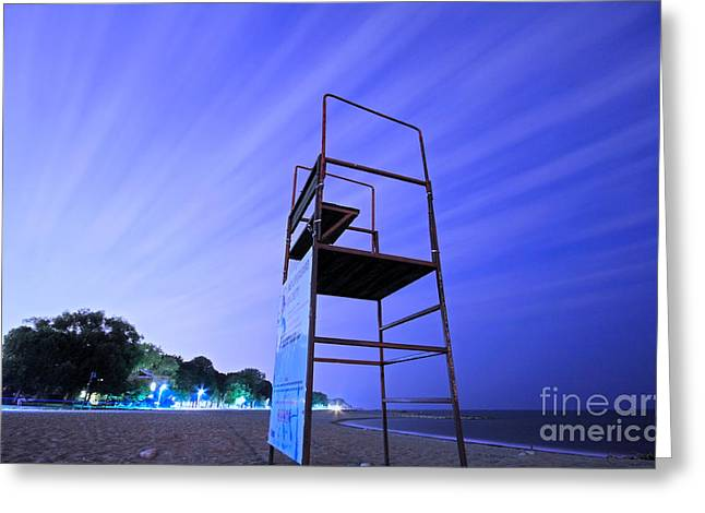 Beach At Night Greeting Card by Charline Xia