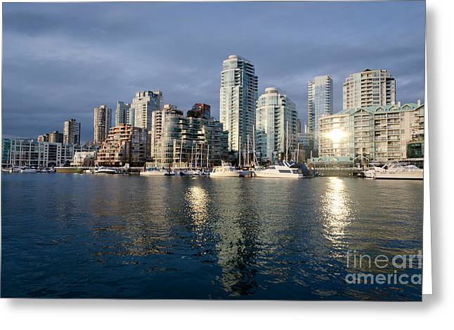 Beach Avenue Downtown Vancouver At Sunset Bc Canada Greeting Card