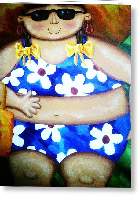 Beach Babe Greeting Card by Unique Consignment