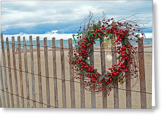 Beach Berry Wreath Greeting Card by Maria Dryfhout