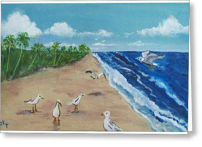 Beach Birds Greeting Card by Paintings by Gretzky