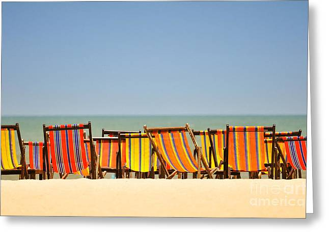 Beach Chairs Colorful  Greeting Card by Panupong Roopyai