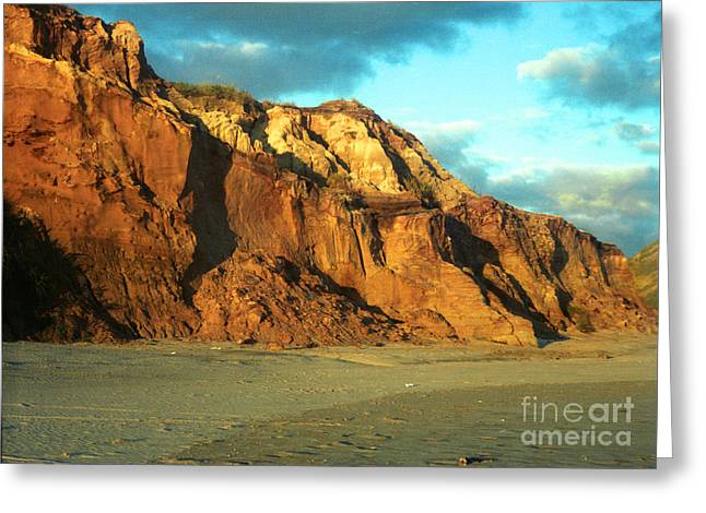 Beach Cliff At Sunset Greeting Card