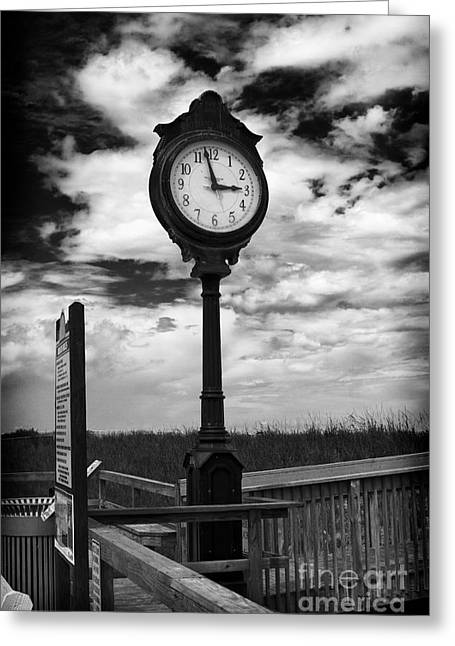 Beach Clock Greeting Card by Thanh Tran