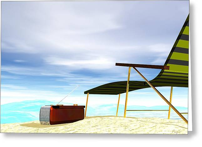 Greeting Card featuring the digital art Beach Day by John Pangia
