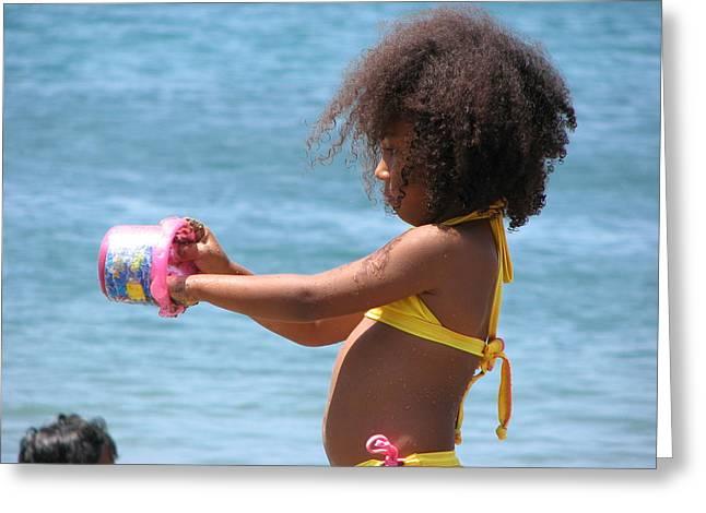 Beach Games Greeting Card by Gal Moran