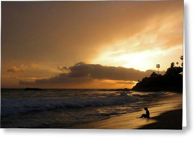 Beach Girl Sunset Greeting Card by Ed Golden