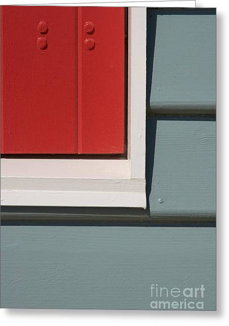 Beach House - Red Gray White Greeting Card by Hideaki Sakurai