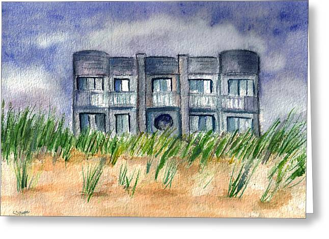 Greeting Card featuring the painting Beach House by Clara Sue Beym