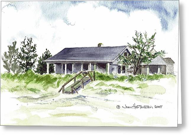 Greeting Card featuring the painting The Little House On East Beach by Joan Hartenstein