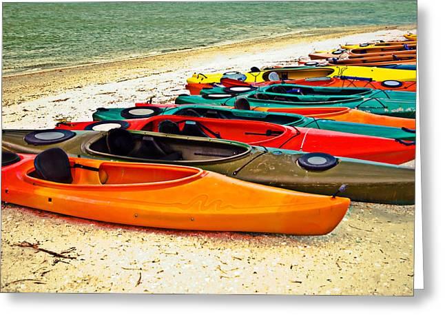 Beach Kayaks Greeting Card