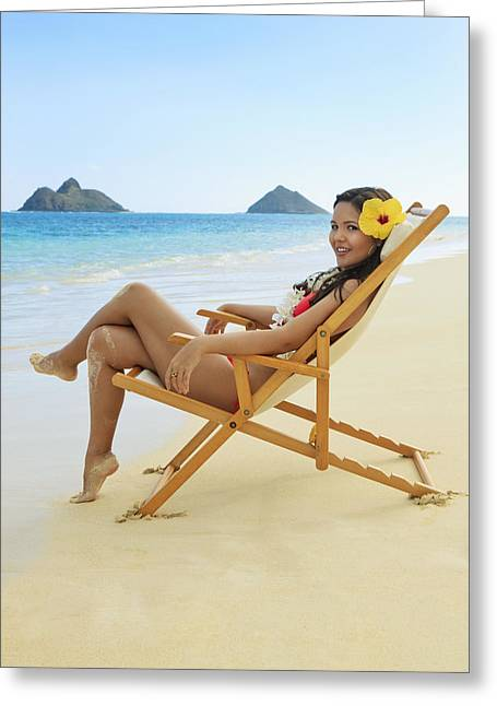 Beach Lounger Greeting Card by Tomas del Amo