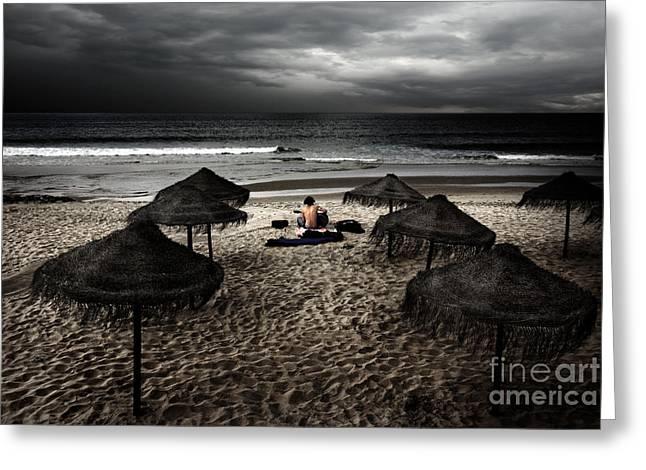 Beach Minstrel Greeting Card by Carlos Caetano