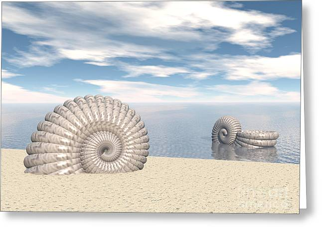 Greeting Card featuring the digital art Beach Of Shells by Phil Perkins