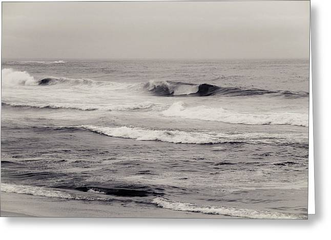 Beach On A Rainy Day Greeting Card by Ezequiel Rodriguez Baudo