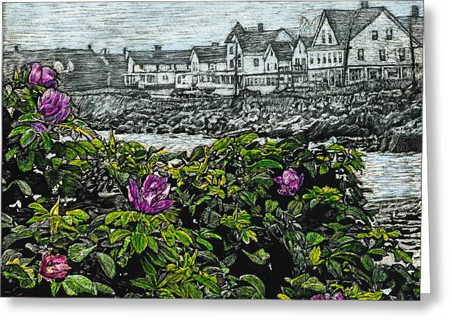 Beach Roses - Short Sands - York Maine Greeting Card by Robert Goudreau