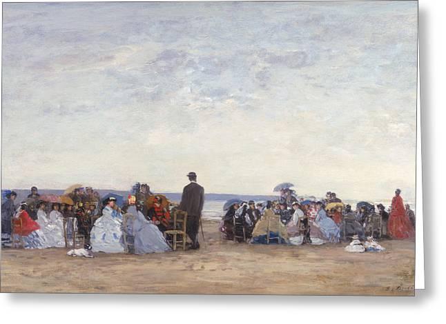 Beach Scene Near Trouville Greeting Card by Eugene Louis Boudin