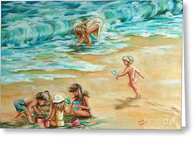Beach Streaker Greeting Card by Sandra Valentini