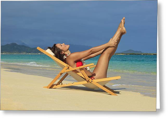 Beach Stretches Greeting Card by Tomas del Amo