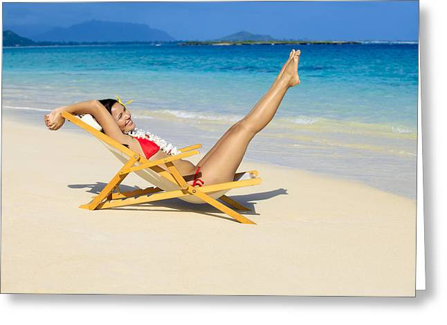 Beach Stretching Greeting Card by Tomas del Amo