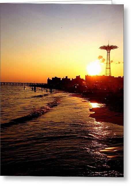 Beach Sunset - Coney Island - New York City Greeting Card by Vivienne Gucwa
