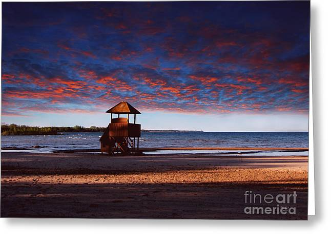 Beach Sunset Greeting Card by Ms Judi