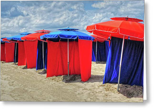 Greeting Card featuring the photograph Beach Umbrellas Nice France by Dave Mills