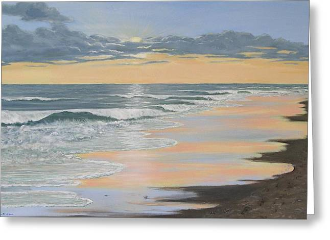 Beach Walk Reflections Greeting Card by Kathleen McDermott