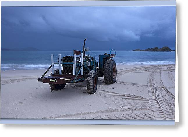 Greeting Card featuring the digital art Beached Tractor by Kevin Chippindall