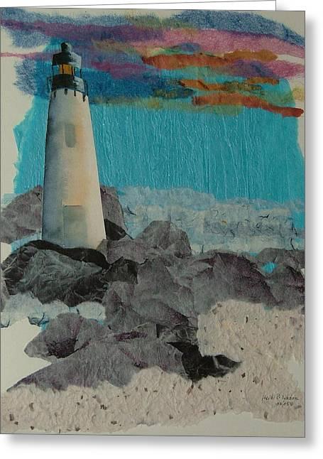 Beacon On The Rocks Greeting Card by Heidi Patricio-Nadon