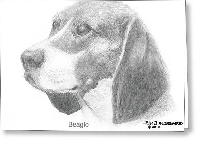 Greeting Card featuring the drawing Beagle by Jim Hubbard