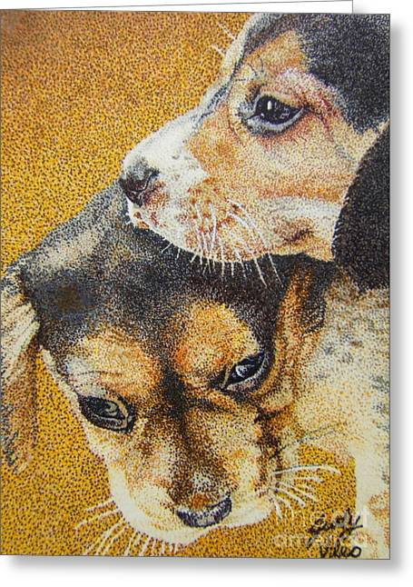 Beagle Puppies Greeting Card by Judy Skaltsounis