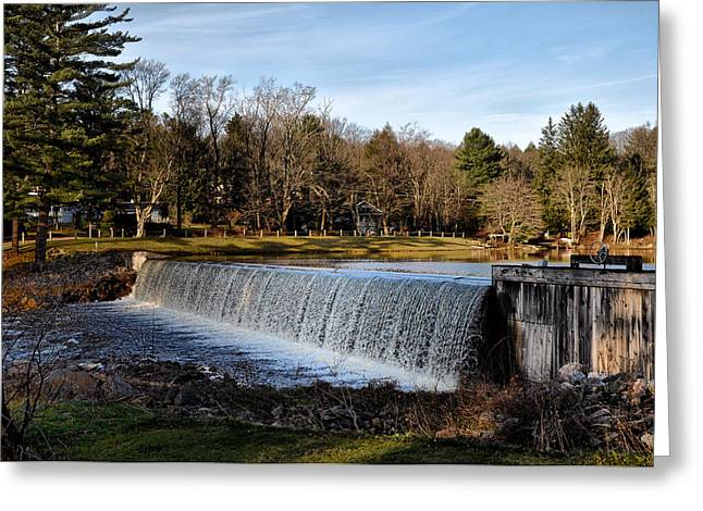 Bear Creek Lake Waterfall Greeting Card by Bill Cannon