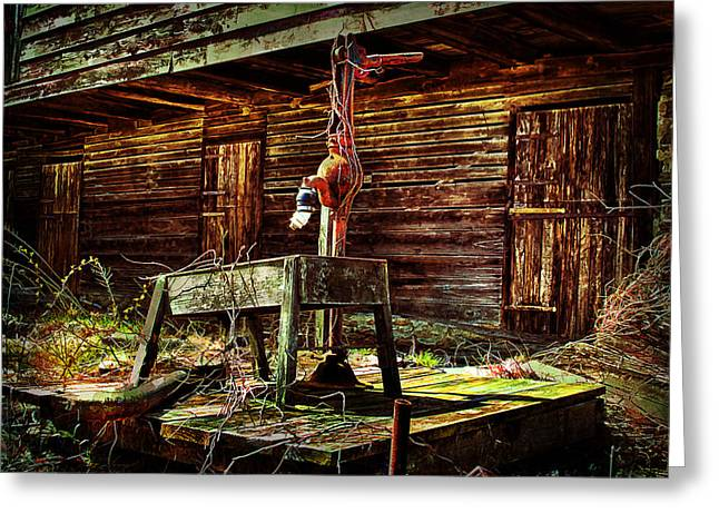 Beaten Down Barn Building Greeting Card by Trudy Wilkerson